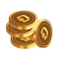 several stacked dogecoins. vector graphics