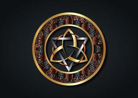 The Grand Seal of gold Triquetra with silver Triangle, bronze Circle vector