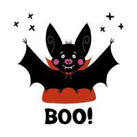 murciélago vampiro de dibujos animados lindo con colmillos y capa roja y palabra abucheo vector