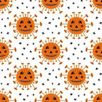 Coronavirus bacteria with scary face and crosses Halloween pattern vector