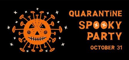 Halloween flyer Coronavirus bacteria and lettering on dark background vector