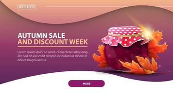 Autumn sale and discount week, banner with jar of jam vector