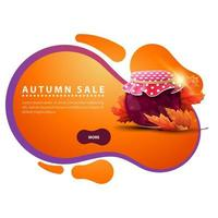 Autumn discount banner in the form of smooth lines with jar of jam vector