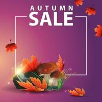 Autumn square web banner with mushrooms and autumn leaves vector