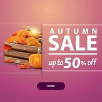 Autu with wooden crates of ripe pumpkins and autumn eaves vector