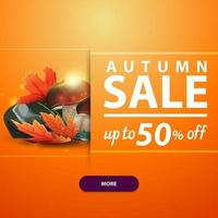 Autumn square banner with mushrooms and autumn leaves vector
