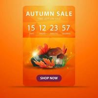 Autumn banner with countdown to the end of the sale with mushrooms vector