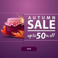 Autumn square banner with jar of jam and maple leaves vector