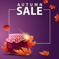 Autumn square web banner with jar of jam and maple leaves vector