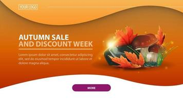 Autumn sale and discount week, banner with mushrooms vector