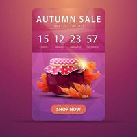 Autumn banner with countdown to the end of the sale with jar of jam vector