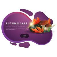 Autumn banner in the form of smooth lines with mushrooms vector