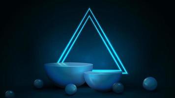 Empty blue semicircular pedestals with large neon triangular frames vector