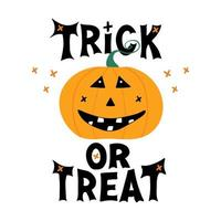 Cute smiling pumpkin character with Trick or treat lettering vector
