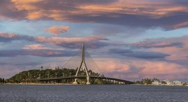 Beautiful Sunset in front of Ilheus-Pontal Bridge. photo