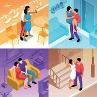 Couple In Love Compositions Vector Illustration