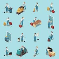 Professional Cleaning Isometric Set Vector Illustration