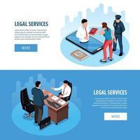 Lawyer Isometric Horizontal Banners Vector Illustration