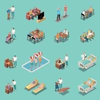 Nursing Home Isometric Set Vector Illustration