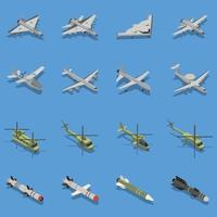 Military Air Forces Isometric Set Vector Illustration