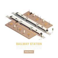 Railway Station Intercity Background Vector Illustration