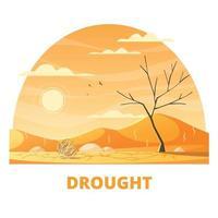 Drought Desert Cartoon Composition Vector Illustration