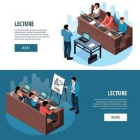 Lecture Horizontal Banners Set Vector Illustration