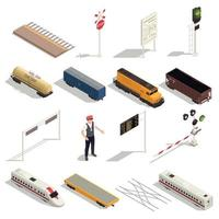 Train Railway Isometric Set Vector Illustration