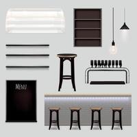 bar elementos interiores conjunto realista ilustración vectorial vector