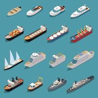 Ships Boats Isometric Set Vector Illustration