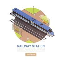 Railway Station Circle Background Vector Illustration