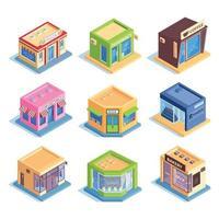 Isometric Shops Set Vector Illustration