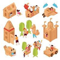 Cardboard Games Children Set Vector Illustration