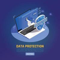 GDPR Data Isometric Background Vector Illustration