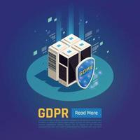 Isometric GDPR Protection Background Vector Illustration