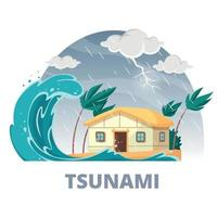 Tsunami Disaster Round Composition Vector Illustration