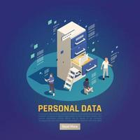 Personal Data Protection Background Vector Illustration