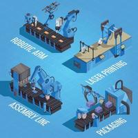 Isometric Robot Automation Composition Vector Illustration