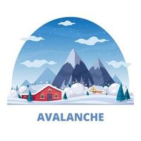 Avalanche Natural Disaster Composition Vector Illustration