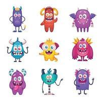 Funny Cartoon Monster Set Vector Illustration