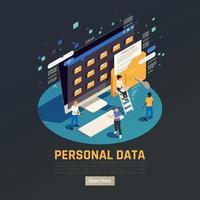 Isometric Personal Data Background Vector Illustration