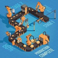 Ilustración de vector de ilustración de producción de automatización de robot isométrico