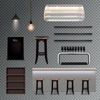 pub interior transparente set vector illustration
