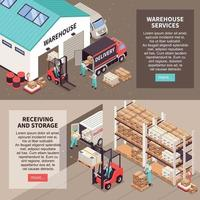 Warehouse Isometric Banners Vector Illustration