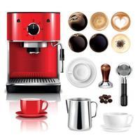 Ilustración de vector de gran conjunto realista de café