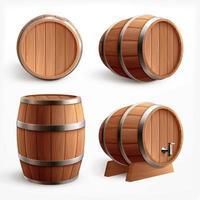 Realistic Wooden Barrels Set Vector Illustration