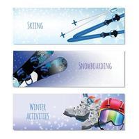 Winter Activities Realistic Banners Vector Illustration
