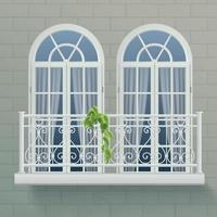 Balcony Fence Realistic Poster Vector Illustration