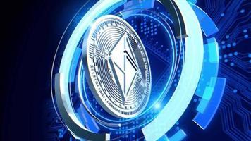 silver ethereum criptomoeda animação futurista círculo azul loop video