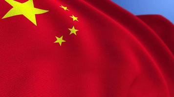 agitant le fond de boucle d'animation du drapeau national de la chine video